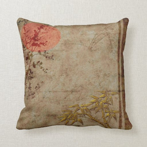 Pillows Asian Rustic Gold Red Bamboo Blossom Throw Pillows