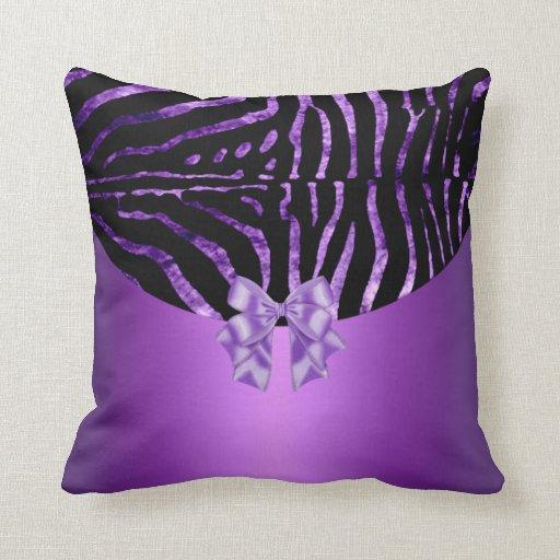 Pillows Zebra Black Purple Pink Stripe Bow