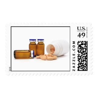 pills and medicine bottles postage stamp