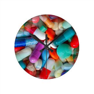 pills drugs round wall clocks