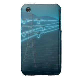Pilón de la electricidad con las líneas eléctricas iPhone 3 funda