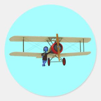 Pilot and Biplane Classic Round Sticker