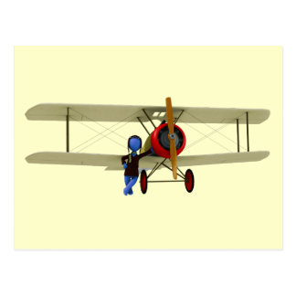 Pilot and Biplane Postcard