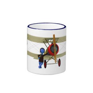 Pilot and Biplane Ringer Mug