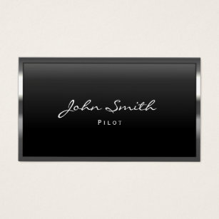 Aviation business cards templates zazzle pilot aviator modern metal border professional business card colourmoves