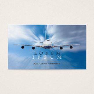 Pilot Aviator Stewardess Plane Sky Transport Business Card
