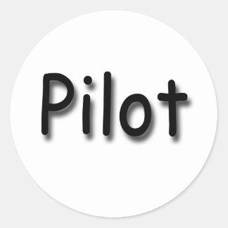 Pilot black classic round sticker