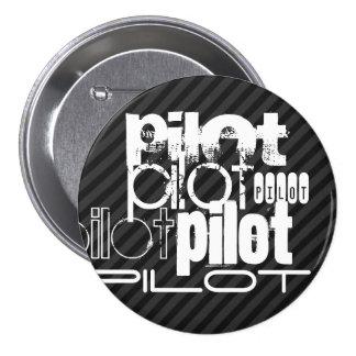 Pilot; Black & Dark Gray Stripes 3 Inch Round Button