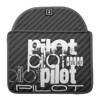 Pilot; Black & Dark Gray Stripes MacBook Pro Sleeve