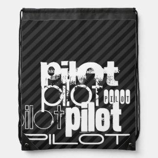 Pilot; Black & Dark Gray Stripes Cinch Bags
