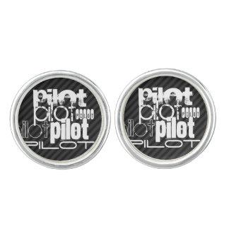 Pilot; Black & Dark Gray Stripes Cufflinks