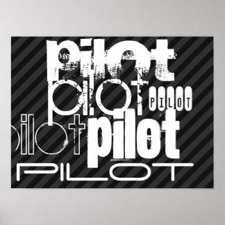 Pilot; Black & Dark Gray Stripes Poster