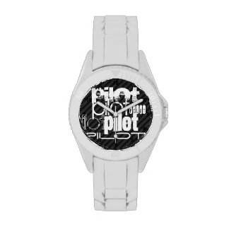Pilot; Black & Dark Gray Stripes Wristwatch