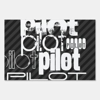 Pilot; Black & Dark Gray Stripes Yard Sign