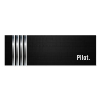 Pilot - Black Silver Stripes Double-Sided Mini Business Cards (Pack Of 20)