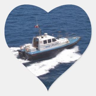 Pilot Boat At Speed Heart Sticker