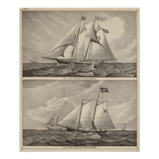 Pilot boats EG Knight and Whilldin Poster