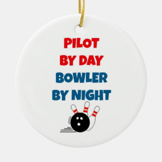Pilot by Day Bowler by Night Ceramic Ornament