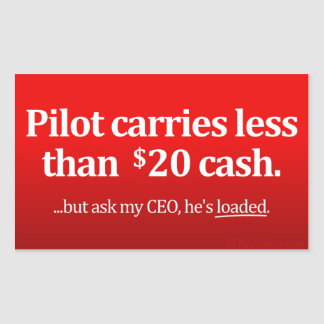 Pilot carries less than $20 cash rectangular sticker