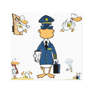 Pilot Cartoon Art Humour Wrapped Canvas Stretched Canvas Prints