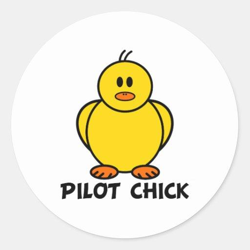 Pilot Chick Classic Round Sticker