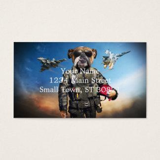 Pilot dog,funny bulldog,bulldog business card