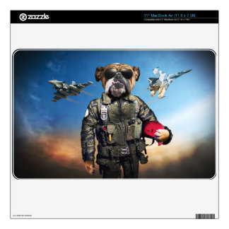Pilot dog,funny bulldog,bulldog skins for the MacBook air