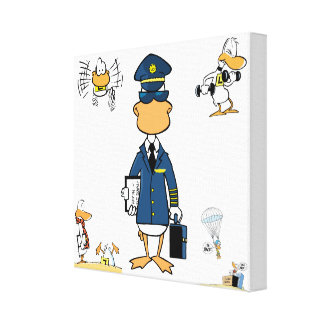 Pilot Duck Cartoon Art Wrapped Canvas Gallery Wrapped Canvas
