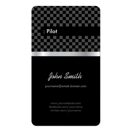 Pilot - Elegant Black Checkered Double-Sided Standard Business Cards (Pack Of 100)
