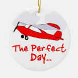pilot flyling red airplane Double-Sided ceramic round christmas ornament