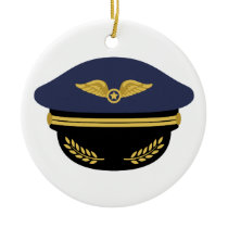 Pilot Hat Ceramic Ornament