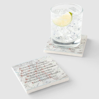 Pilot Home Gift, Aviation Alphabet Map Coaster