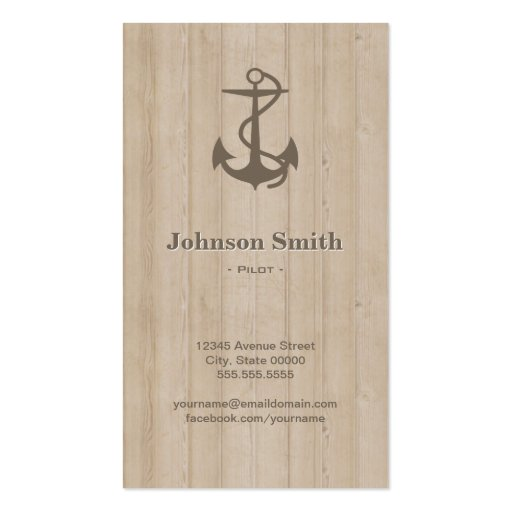 Pilot - Nautical Anchor Wood Business Card Template