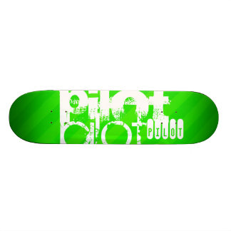 Pilot; Neon Green Stripes Skateboard Deck