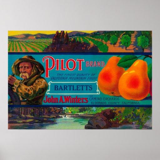 Pilot Pear Crate LabelEl Dorado County, CA Posters
