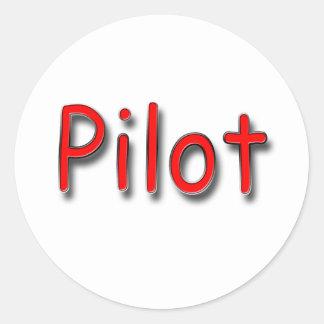 Pilot red classic round sticker