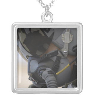 Pilot sits in his A-10 Thunderbolt II Silver Plated Necklace