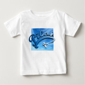 Pilot with white airplane. baby T-Shirt