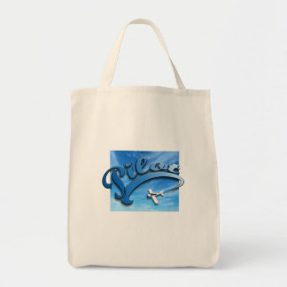 Pilot with white airplane canvas bag