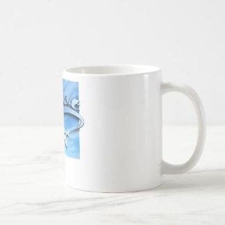 Pilot with white airplane. classic white coffee mug