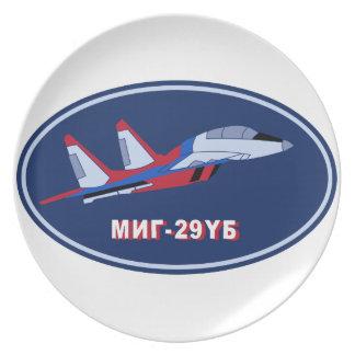 Piloten Ausbildungsabzeichen auf MIG 29 UB Trainer Dinner Plate