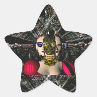 PILOTO ANDROIDE de la NAVE ESPACIAL de XENIA, Pegatina En Forma De Estrella