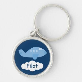 Piloto azul lindo del personalizable del avión del llavero redondo plateado