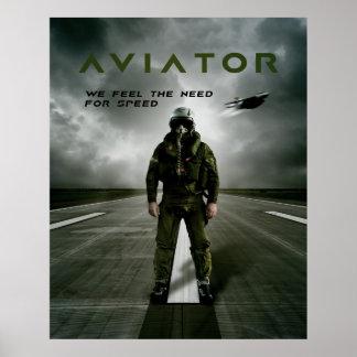Piloto de caza del aviador póster