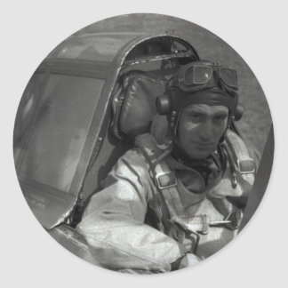 piloto de caza pegatina redonda