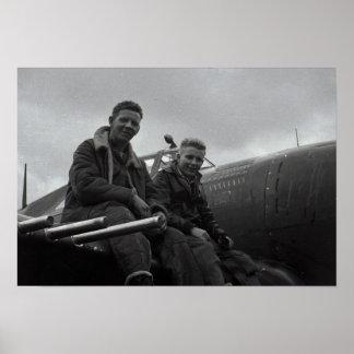 Piloto de caza y equipo poster