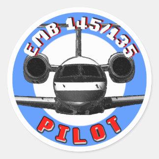 Piloto de EMB 145 Pegatina Redonda