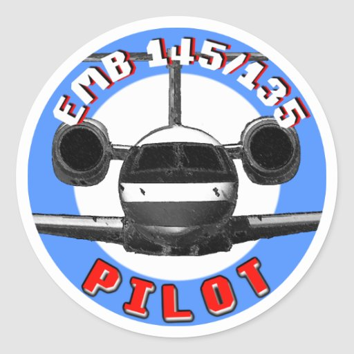 Piloto de EMB 145 Pegatinas Redondas