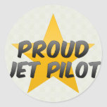 Piloto de jet orgulloso pegatina redonda