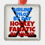 Piloto de la línea aérea del amante del hockey ornamentos de navidad